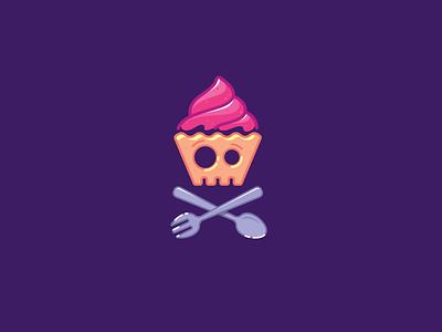 Sugar addict funny colorful icon logo cake skull halloween