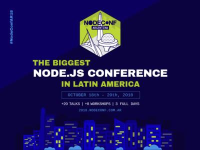 NodeconfAR18 - Third Edition! ui site web design nodejs nodeconf flyer branding