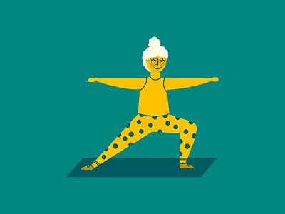 Grandma Yogi people citizen senior health active yellow green illustrator spot illustration illustraion character happy athletic yoga yogi grandma grandmother