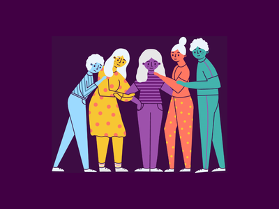 Friendship protect cdc illustrator group hug fun healthy health relationships cute spot illustration illustration character happy rainbow people friends relationship