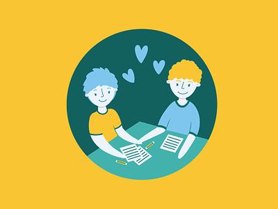 Teens healthcare cdc procreate cute illustration friendly yellow spot illustration illustrator love happy friends school homework dating relationships health kids teens androgynous