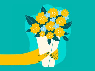 Bouquet lover health hand cute spring plant valentine love happy green friendship friends spot illustration illustration illustrator get well friend bouquet gift flowers