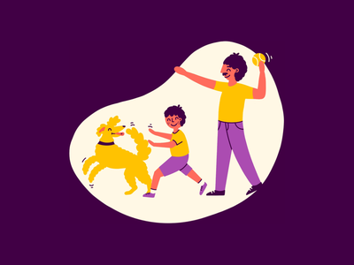 Family Time cute spot illustration illustration illustrator animal pet happy mental health adult kid outdoors play baseball ball catch dog son father family