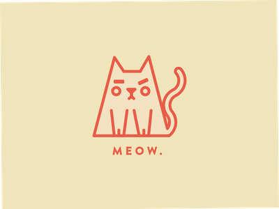Meow. animal logo illustration pink angry feline animallogo animal logo meow cat logo icon cat
