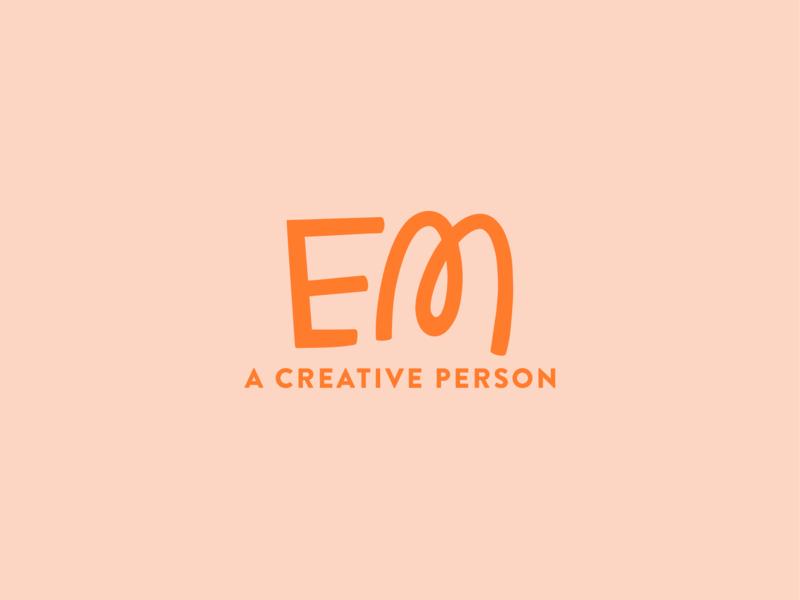Personal Brand portfolio orange pink identity branding brand emily em name logo personal brand