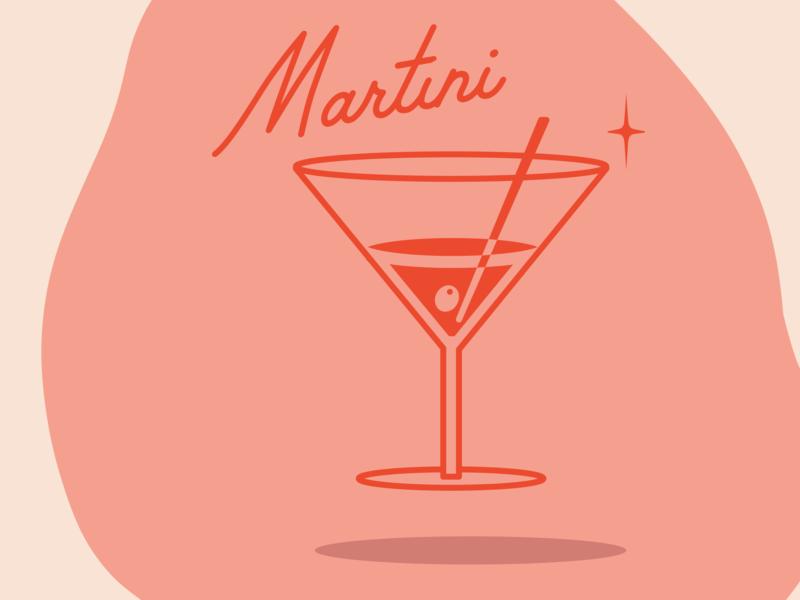 Martini - Drink 3/5 resturant business bar drink logo cute fun vintage retro drinking branding brand mono weight mono line red pink logo icon martini drink illistration