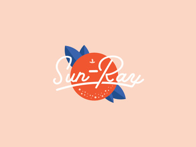 Sun-Ray citrus food brand typography sun fruit cinema summer icon vector design branding logo movie florida state orange juice oranges orange florida illustration