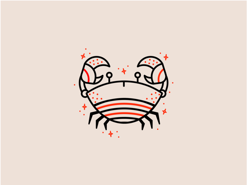 Zodiac - Cancer red sea fun design brand ocean life ocean monoline clean vector illustration animal crab logo branding animal logo astrology vector icon logo crab illustration
