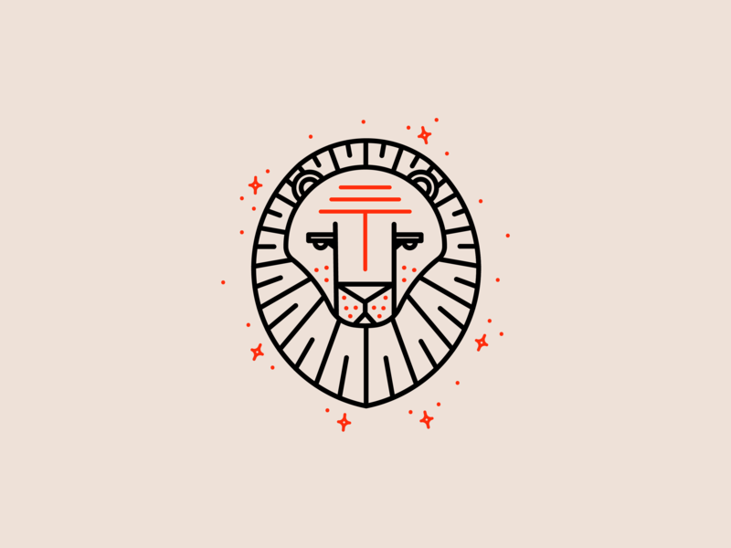 Zodiac - Leo line art line letterpress monoline astrology zodiac signs zodiac lion logo leo lion red animal logo animal design branding brand fun icon logo illustration