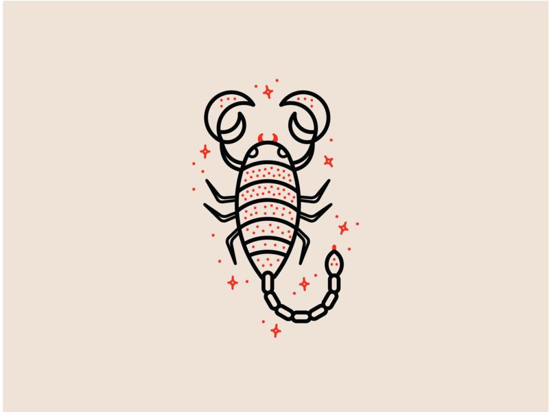 Zodiac - Scorpio sparkle star flat vector cute insect bug animal logo animal red icon set minimal clean astrology zodiac sign zodiac scorpion scorpio icon illustration