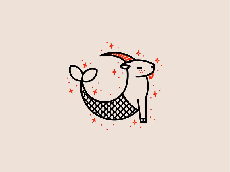 Zodiac - Capricorn letterpress simple clean minimal flat vector monoline astrology zodiac icon set illustration icon capricorn fish logo sea goat goat animal logo animal
