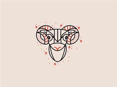 Zodiac - Aries red letterpressed minimalist horns goat logo sheep logo animal logo animal line monoline vector aries icon set illustration astrology zodiac sheep goat ram icon