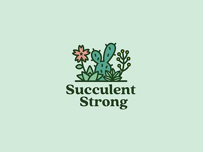 Succulent Logo cute fun greens flower logo leaf plant logo cactus flower green plants plant succulent logo illustration icon