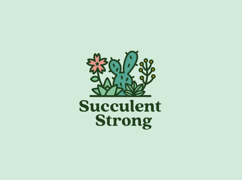 Succulent Logo cute fun greens flower logo leaf plant logo cactus flower green plants plant succulent logo illustration icon
