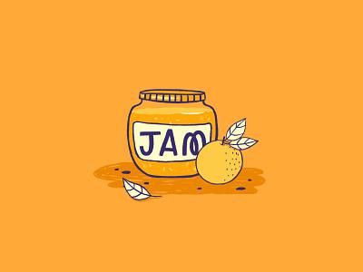 Jam Illustration cute art ipad procreate sweet spot illustration icon illustration food cute marmalade orange fruit jam