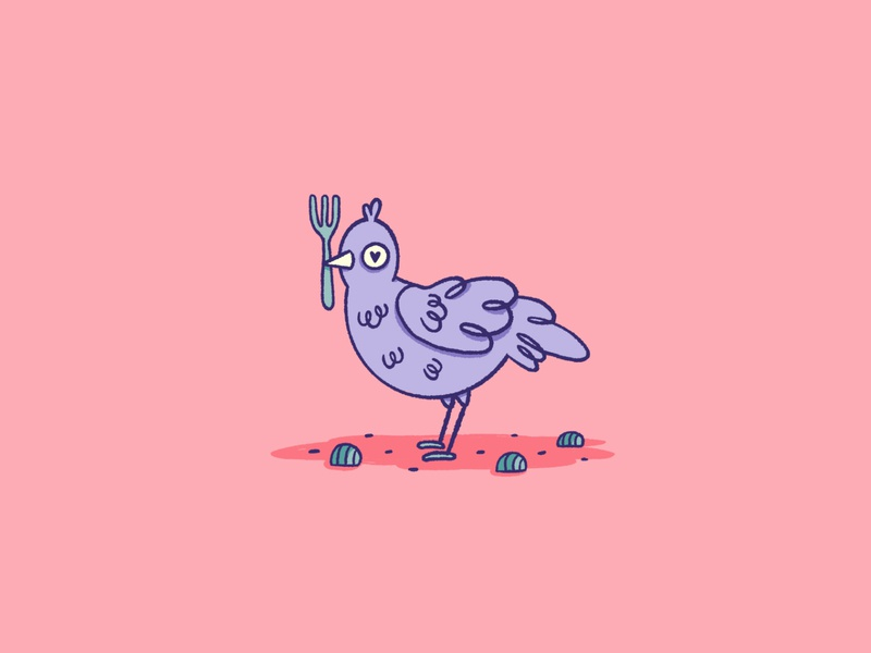 Bowerbird blue fork pebble heart love inktober procreate cute illustrations fun illustration icon animal logo bird