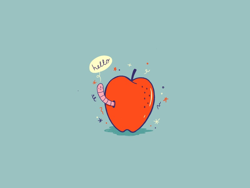 Hello! icon fruit animal hello worm apple illustration