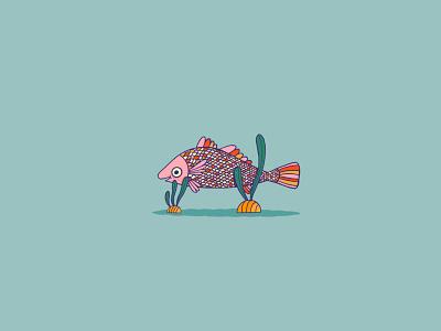 Drum Fish cute happy seaweed scales illustration water ocean inktober rainbow animal drum fish