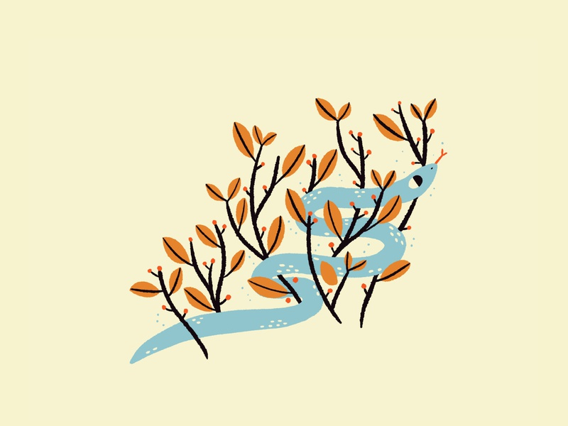Snakey spot icon cute fall leaves plants nature illustration animal snake