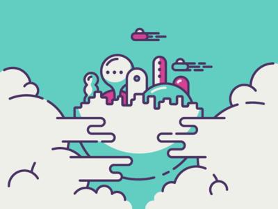 Floating City squig cmyk vector art line city floating