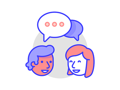 Talking with not at line art dichromatic illustration fun mailchimp