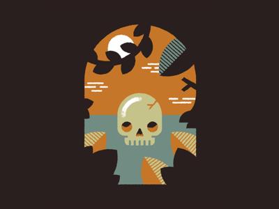 Halloween Illustration scene vines texture illustration flat halloween skeleton skull