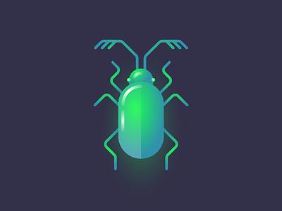 Glo bug II gradient illustration insect geometric beetle bug glow