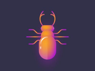 Glo bug III insect illustration gradient glow geometric dark bug beetle