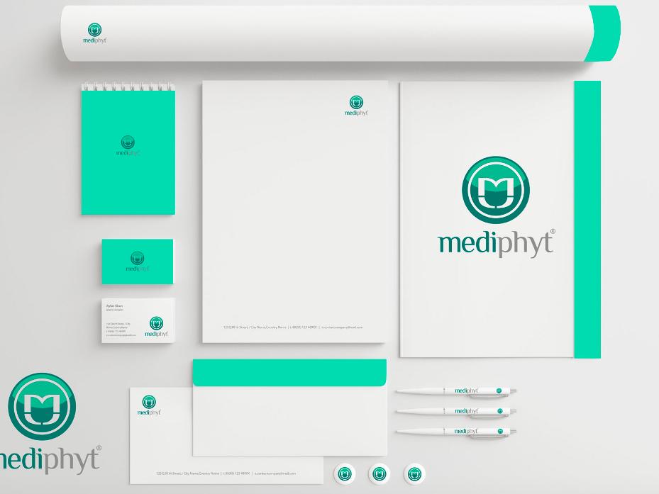 Mediphyt Full branding businesscard logo envelop branding design brand guidelines branding and identity branding