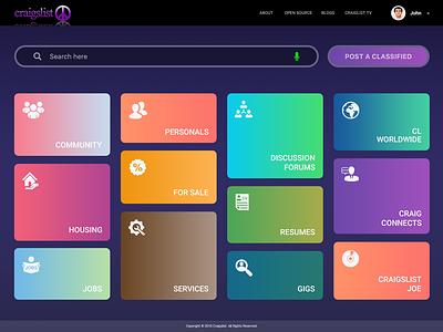 Craigslist Homepage | Concept redesign craigslist classified cards gradients homepage webpage ux ui website