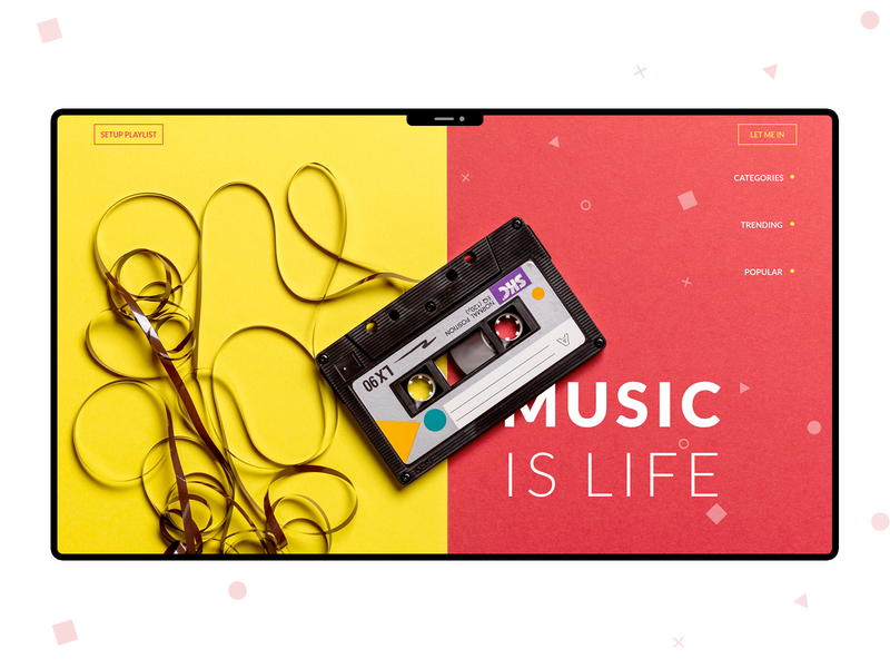 Music is life | Web Concept web app colorful yellow red music web website social ux design ui