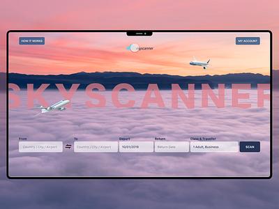 Skyscanner Landing Concept booking website flight booking gradient animation redesigning skyscanner ui  ux web ui design ux ui web ui website colorful