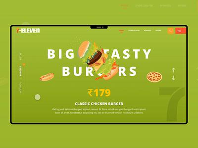 7eleven Redesigning Concept vector illustration animation design slider food food ordering fast food pizza burger game art web design website ux ui seveneleven 7eleven