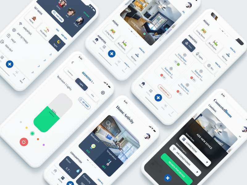 Connected Homez   App Concept ios clean ui white xd iphonex design ux ui connected home home smart smart home