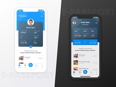 ePassport Travel App xd app development app design blue white design ux ui iphone x iphonex ios travel app airport app passport app online passport e-passport e passport passport