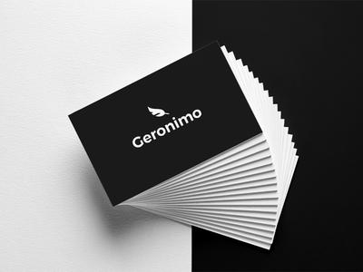 Geronimo Branding paper leaf white black business logotype mockup branding