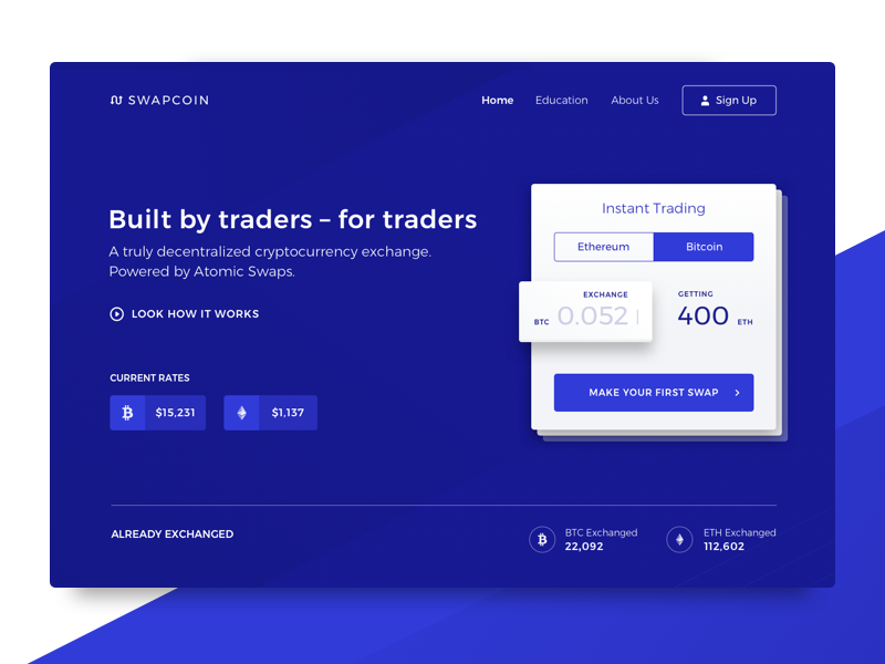 New Decentralized Cryptocurrency Exchange Company Website
