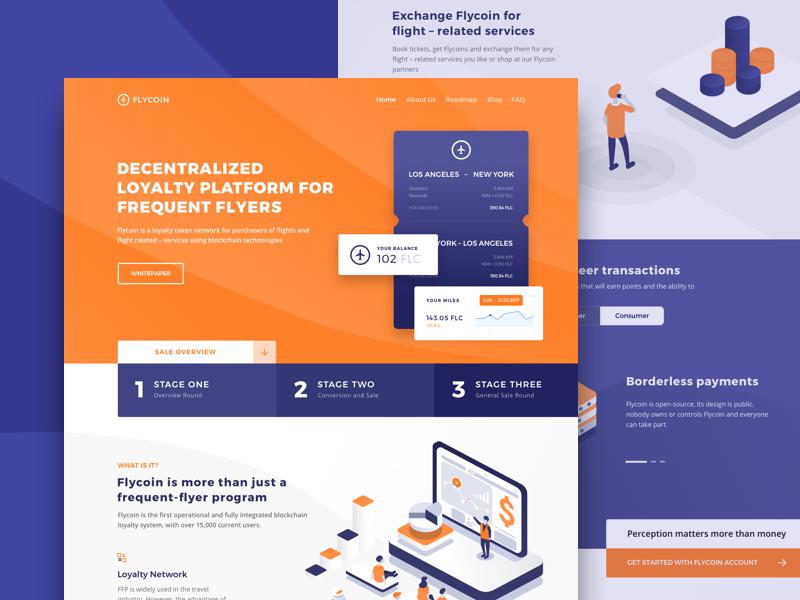 Website Design for Blockchain Loyalty Frequent Flyer Platform visual content layout ux ui token decentralized platform flight services loyalty marketing business blockchain