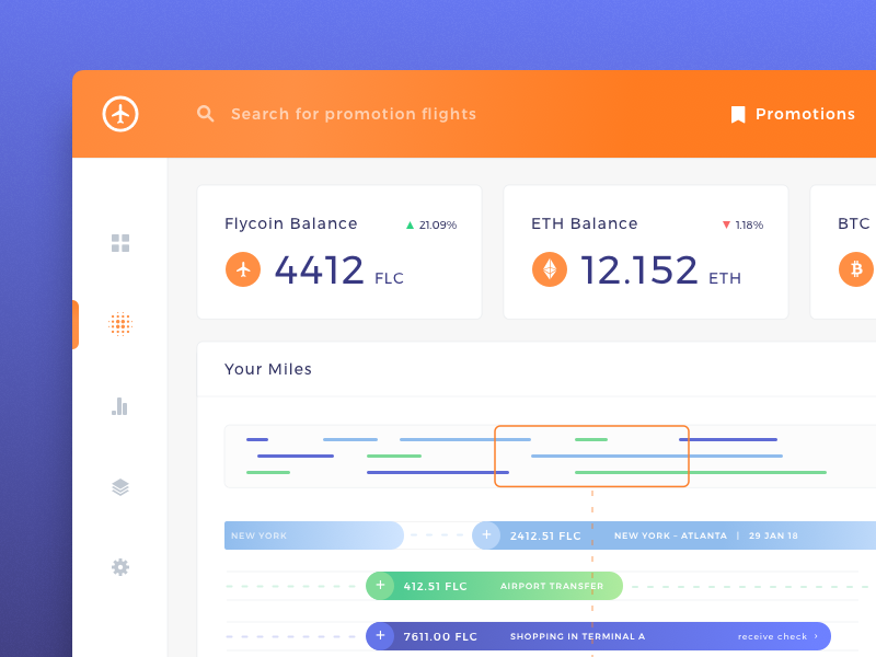 Cryptocurrency Dashboard for Blockchain Frequent Flyer Platform by Dmitro Petrenko for Zajno Crew