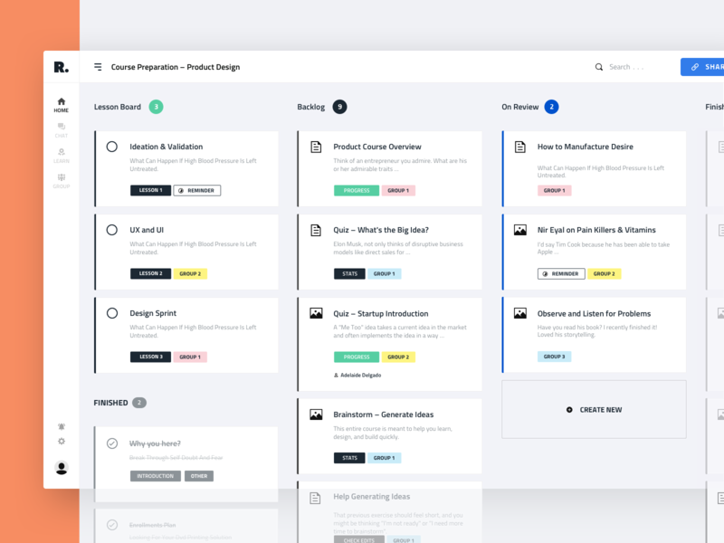 Progress Board Interface for Education Platform todo app todoist interface informational graphic clean design study university education learning e-learning app design product interaction business web mobile dashboard ux ui