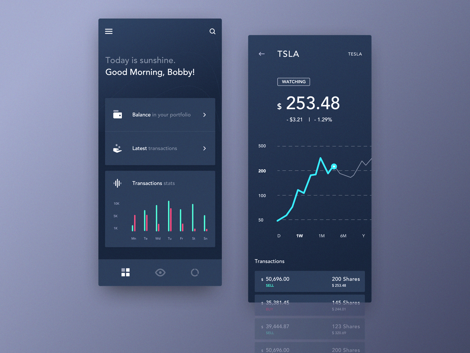 Mobile Application Dashboard for Stock Platform dark app exchange alarm interface informational graphic design decentralized platform cryptocurrency bitcoin clean blockchain app design product interaction business web mobile dashboard ux ui