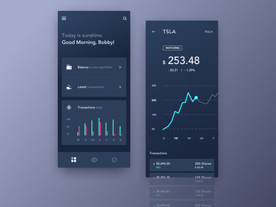 Mobile Application Dashboard for Stock Platform chart analytics dark app exchange alarm interface informational graphic design decentralized platform cryptocurrency bitcoin clean blockchain app design product interaction business dashboard ux ui
