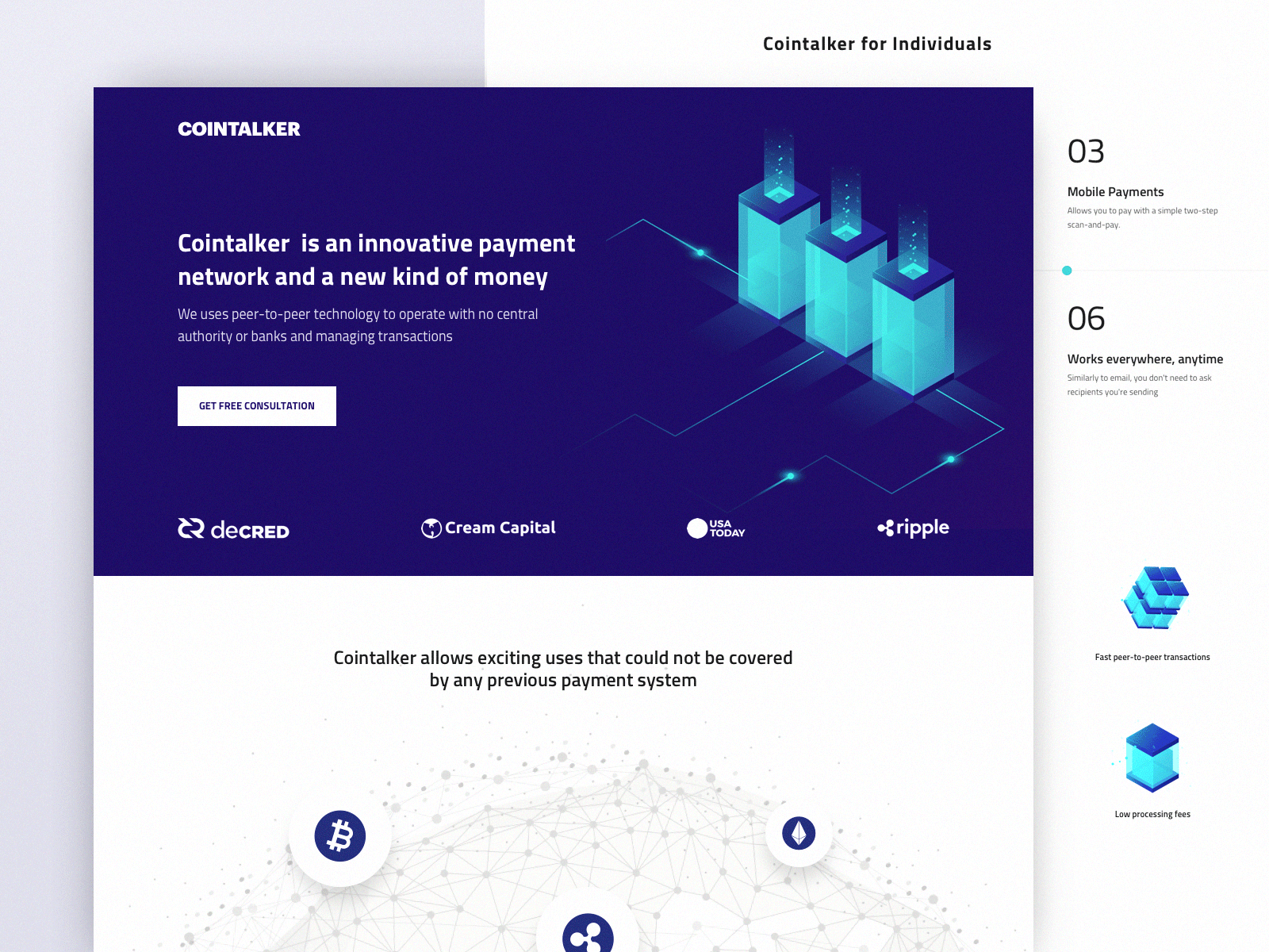 Landing Page for Cryptocurrency and Stock Exchange Web Platform