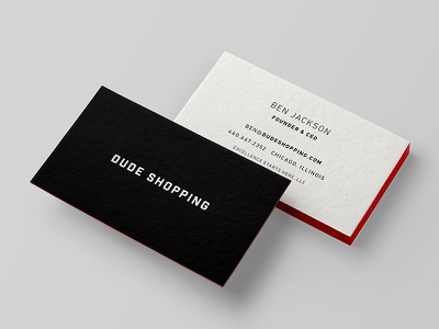 Dude Shopping Business Cards stationary branding ecommerce emboss edge painting cards business shopping dude