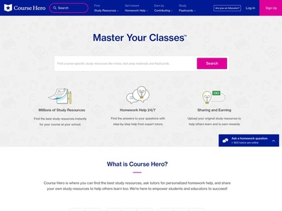 Courshero Homepage ux magenta blue redesign homepage ui course hero