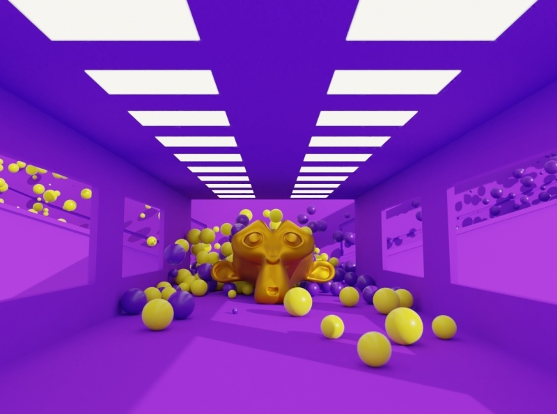 Blender Physics (Molecular add-on) blender 2.8 blender 2.9 blender 2.x suzanne gold yellow purple balls sims simulation particle molecular add-on molecular script blender blender 3d molecular