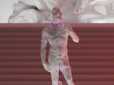 Michelangelo Homer-David statue invite cyberpunk modern statue simpson homer simpson homer sculpt blender loop withfnd neon crypto cryptoart nfts nft
