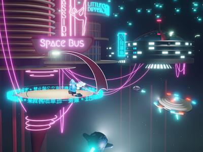 Jetsons 3019 game glow rosey drone b3d space blender eevee jetsons cyberpunk
