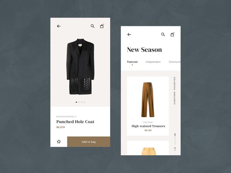 Concept Exploration: Fashion Store (Mobile) mobile design minimalist ux ui fashion digital concept concept ecommerce mobile ui