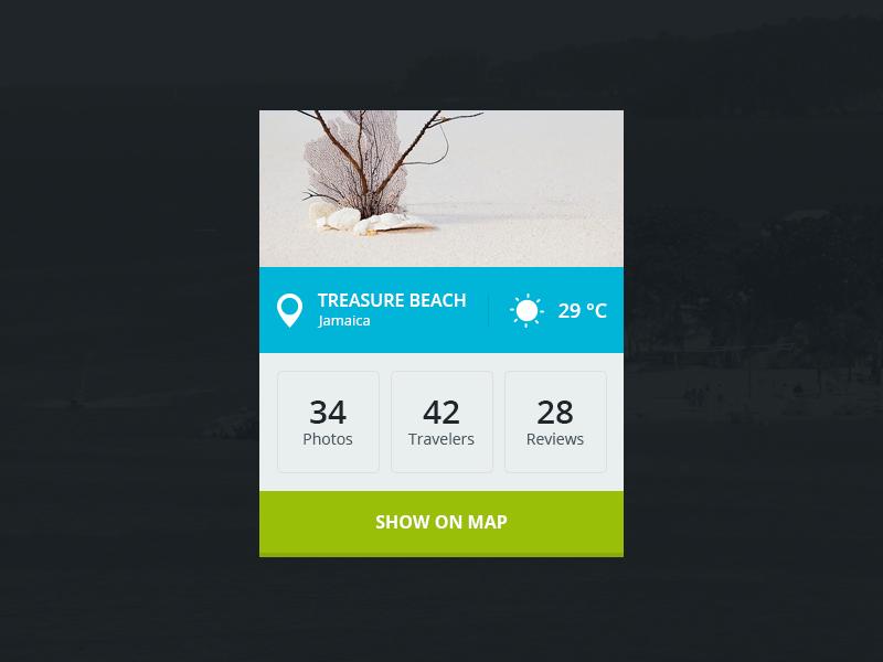 Travel Widget travel widget flat weather ui map